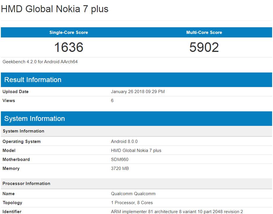 Nokia 7 Plus specs