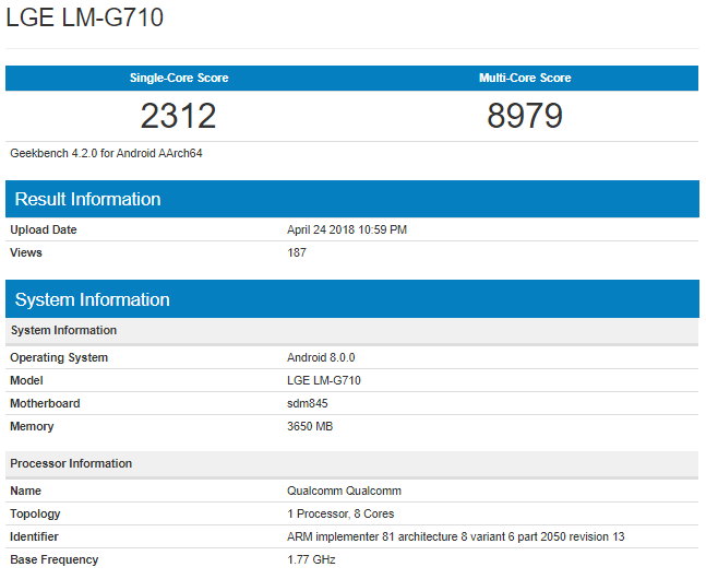 LG G7 ThinQ Geekbench Specifications