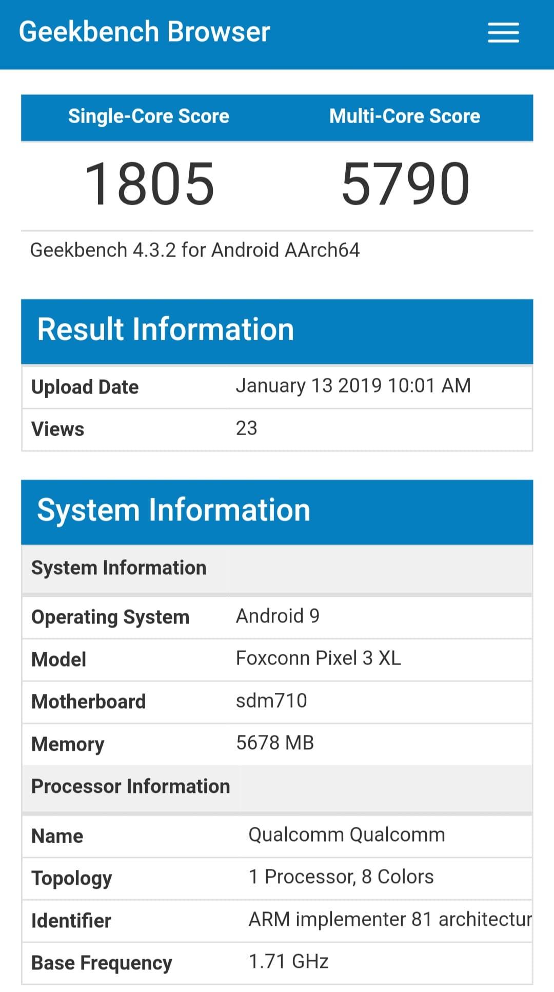 Google Pixel 3 Lite XL GeekBench