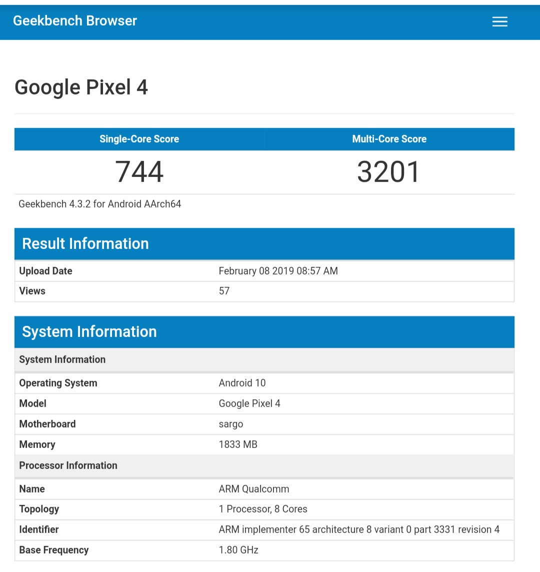 Google Pixel 4 Spotted on GeekBench