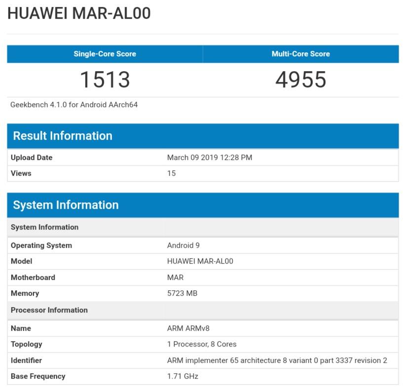 Huawei nova 4e GeekBench